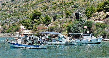 boats porto palermo bay albanian riviera